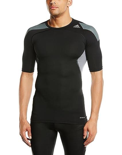 Adidas, Maglietta di compressione Uomo Techfit Cool, Nero (Black/Vista Grey S15), S