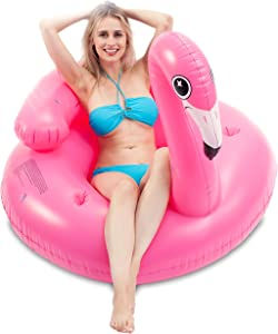 JOYIN Inflatable Flamingo Tube, Pool Float, Fun Beach Floaties, Swim Party Toys, Summer Pool Raft Lounge for Adults & Kids, with 2 Cup Holders and Head Rest