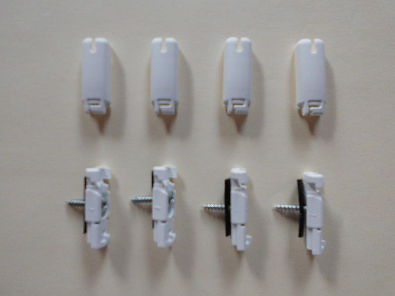 4 Spannschuhe weiß mit Verrastung für verspannte Plissee von Cosiflor
