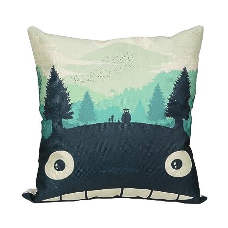 Elviros Funda cojín 45 x 45 (cm) algodón Lino Cuadrado Decorativo Funda de Almohada para sofá sofá Cama Totoro
