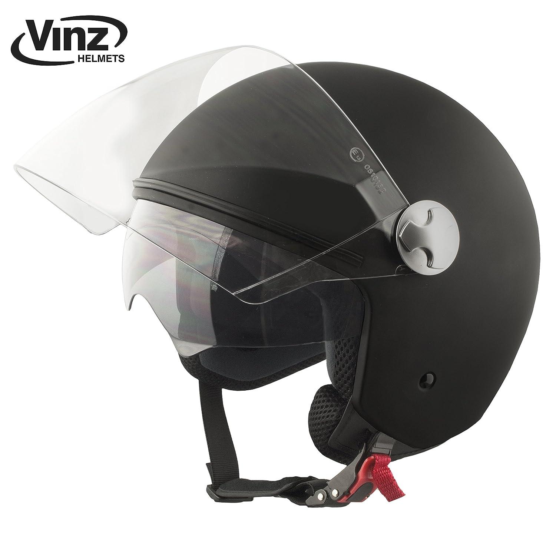 Amazon.es: Vinz - Casco tipo jet para motocicleta en negro ...