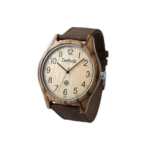 Reloj de Madera ZEITHOLZ – Altenberg - 100% de Madera de Zebrano - Producto Natural
