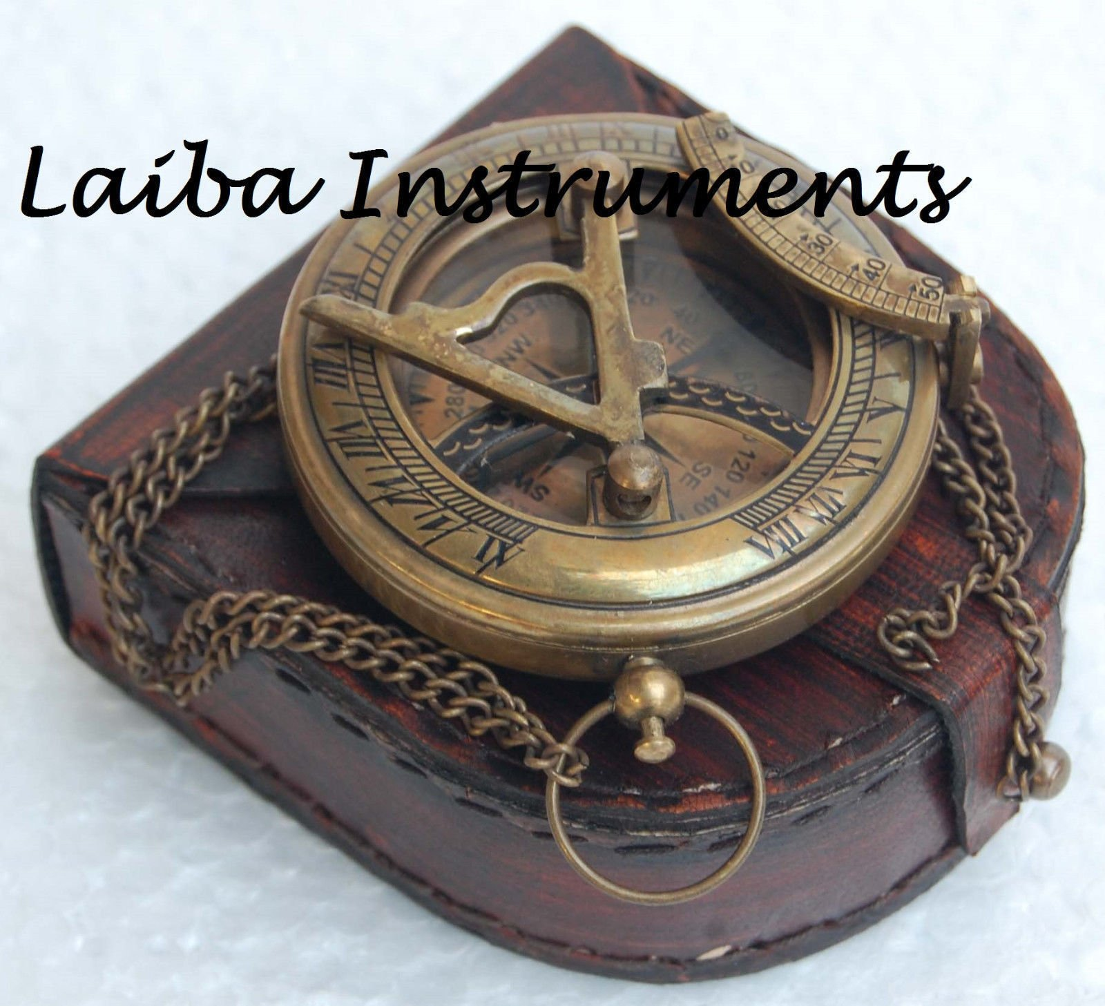 Humaira Nautical OLD ANTIQUE BRASS SUNDIAL COMPASS VINTAGE PUSH BUTTON SUNDIAL COMPASS GIFT