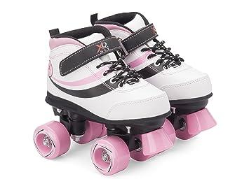 Patines tradicionales retro Junior Disco de cuatro ruedas con botas para deporte, blanco y rosa