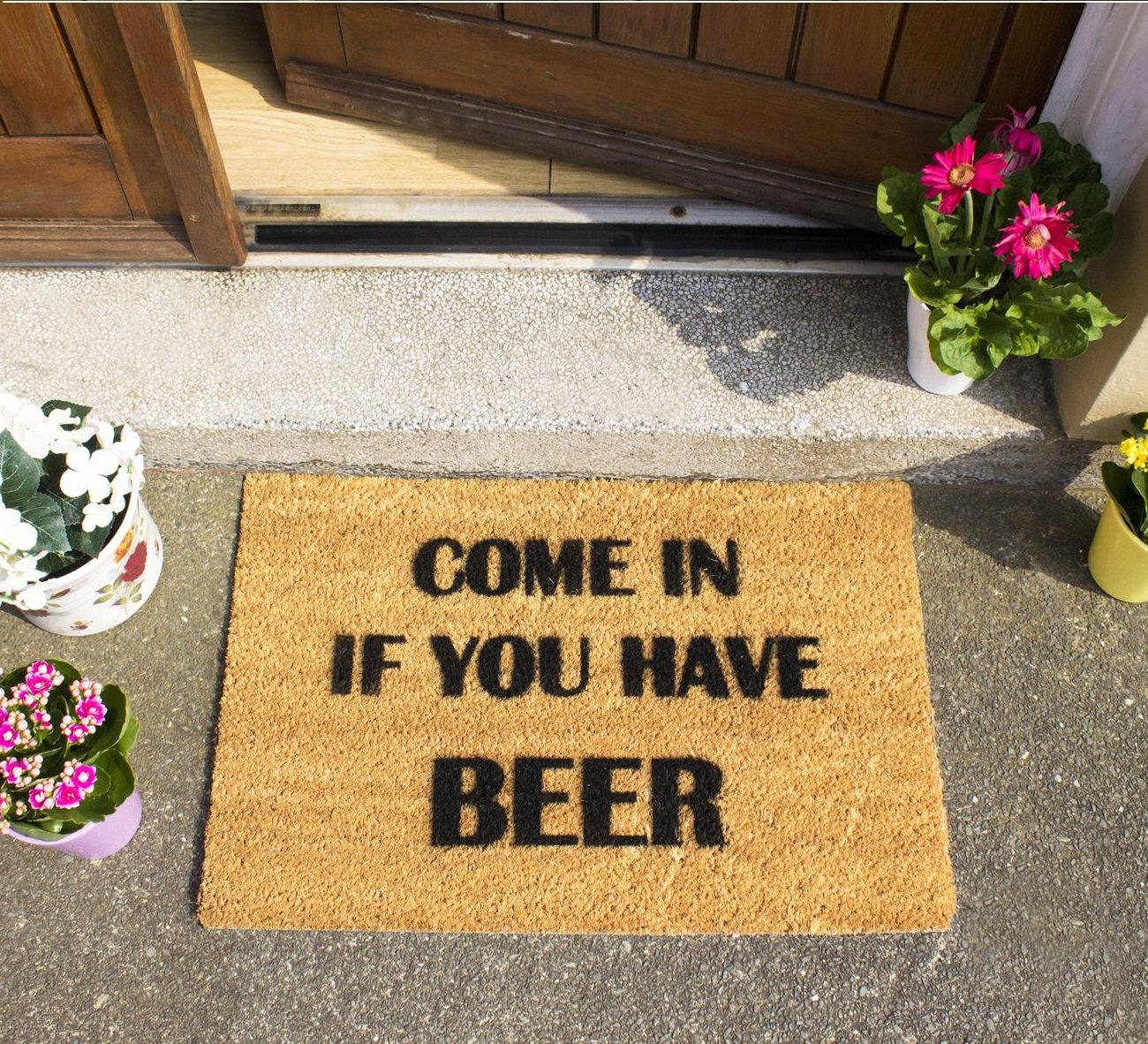 CKB Ltd Come In If You Have Beer Novelty Doormat Unique Doormats Front/Back Door Mats Made With A Non-Slip Pvc Backing - Natural Coir - Indoor & Outdoor