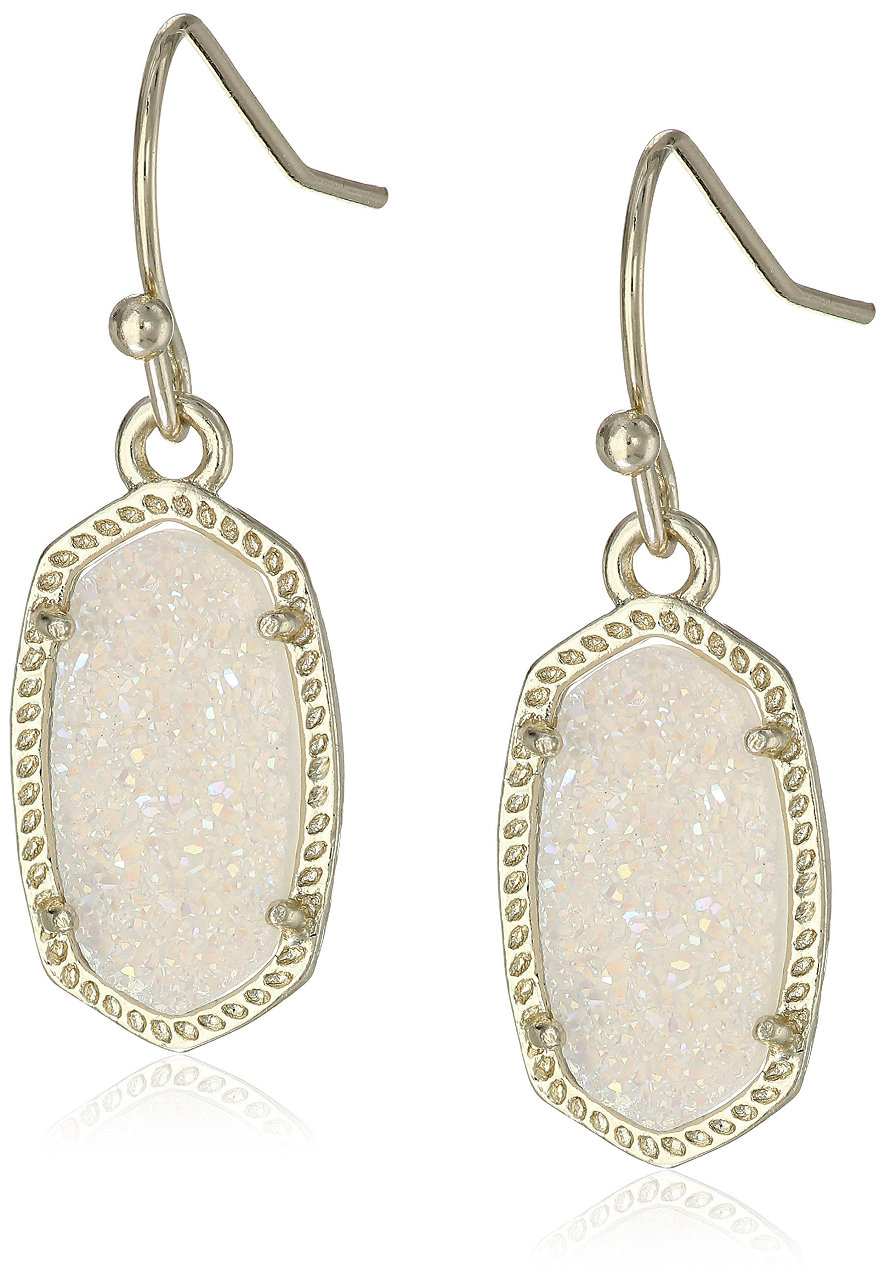 Kendra Scott ''Signature'' Lee Gold plated Iridescent Drusy Drop Earrings