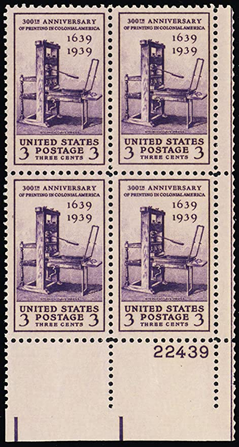 picture relating to Printable Postage Stamps known as : 1939 3 Cent Printing Tercentenary Plate Block of