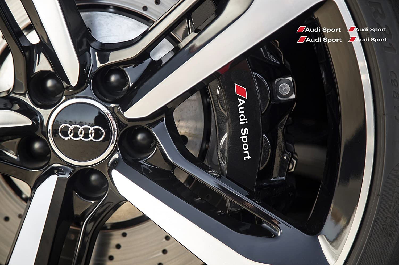 Amazon.com: AUDI Sport Brake Caliper Mirror Window Decal 80mm + 110mm  (White Ð red): Automotive