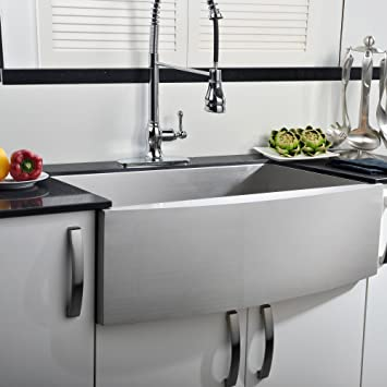 comllen 304 stainless steel 33 inch farmhouse kitchen sink single bowl 16 gauge 10 inch comllen 304 stainless steel 33 inch farmhouse kitchen sink single      rh   amazon com