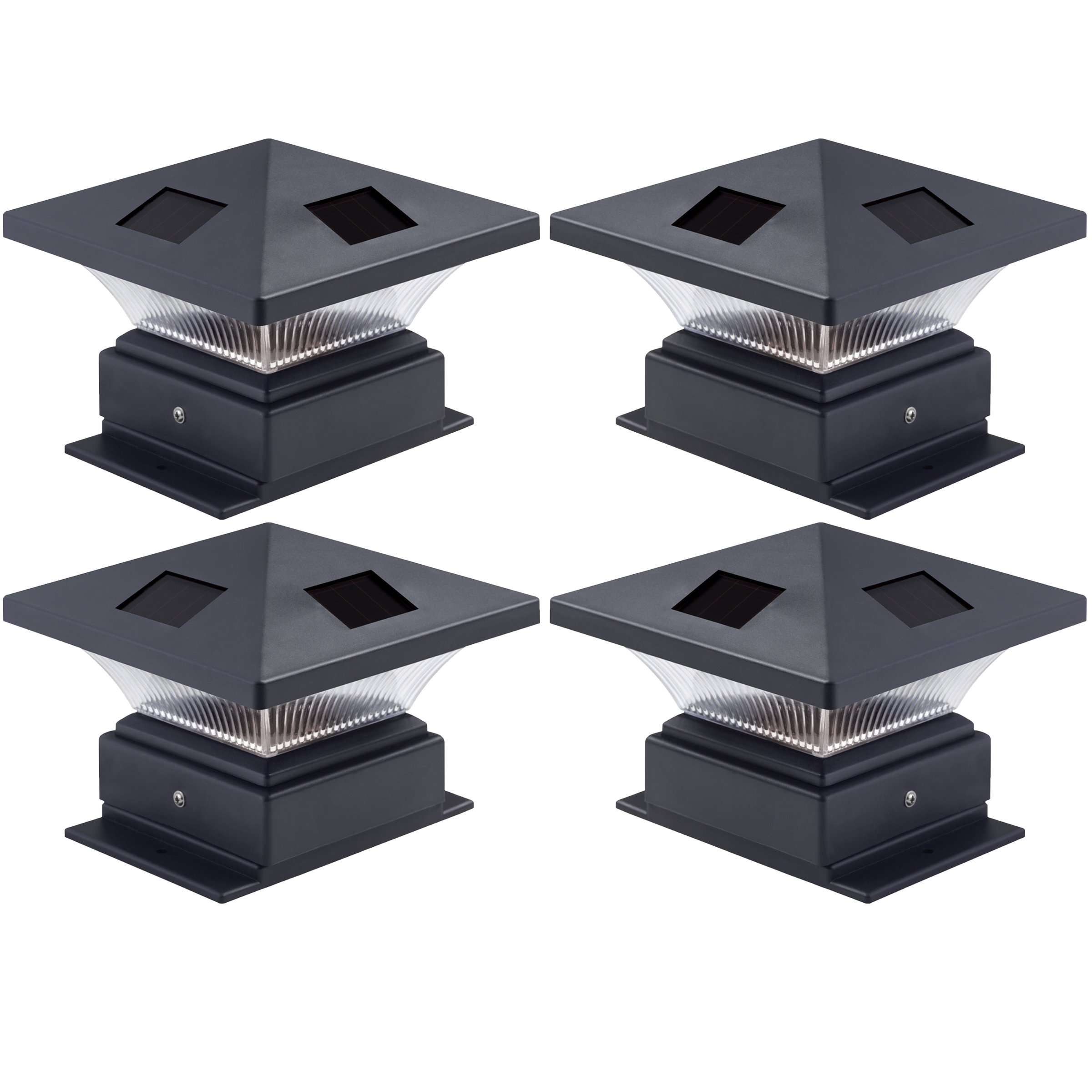 Westinghouse 4 Pack Pagoda II Black Solar Post Cap Lights for 4 x 4 Wood Posts