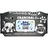 Absorb Plus Charcoal Pet Wipes 80 Sheets, Baby Powder