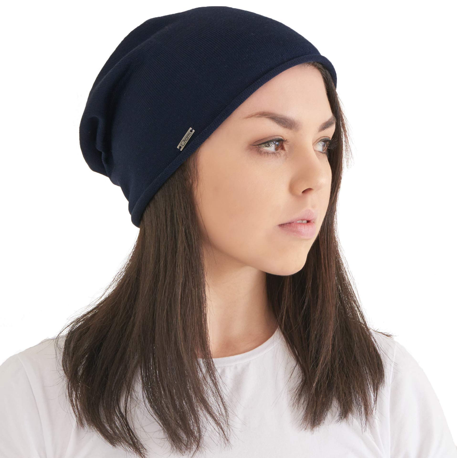 Silk Beanie Hat for Men and Women - Soft Slouchy Mens Beanie Cap Summer Sensitive Skin Womens Chemo Slouch Cap Stretchy Navy L