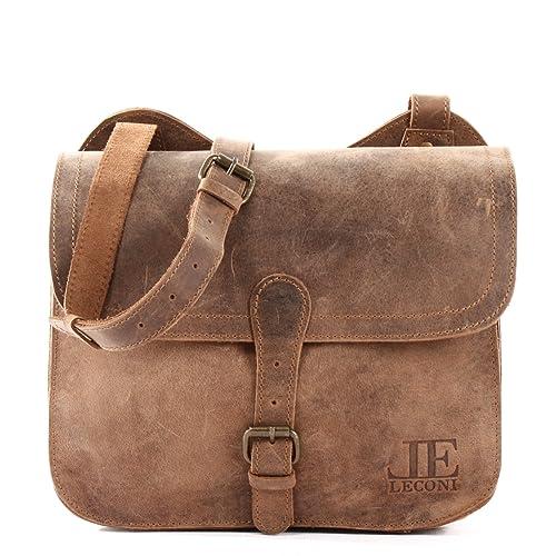 Damen Freizeittasche Kleine Herren Leconi 29x23x11cm Umhängetasche Vintage Le3061 Schultertasche Büffelleder Echtleder BrxeWdCo