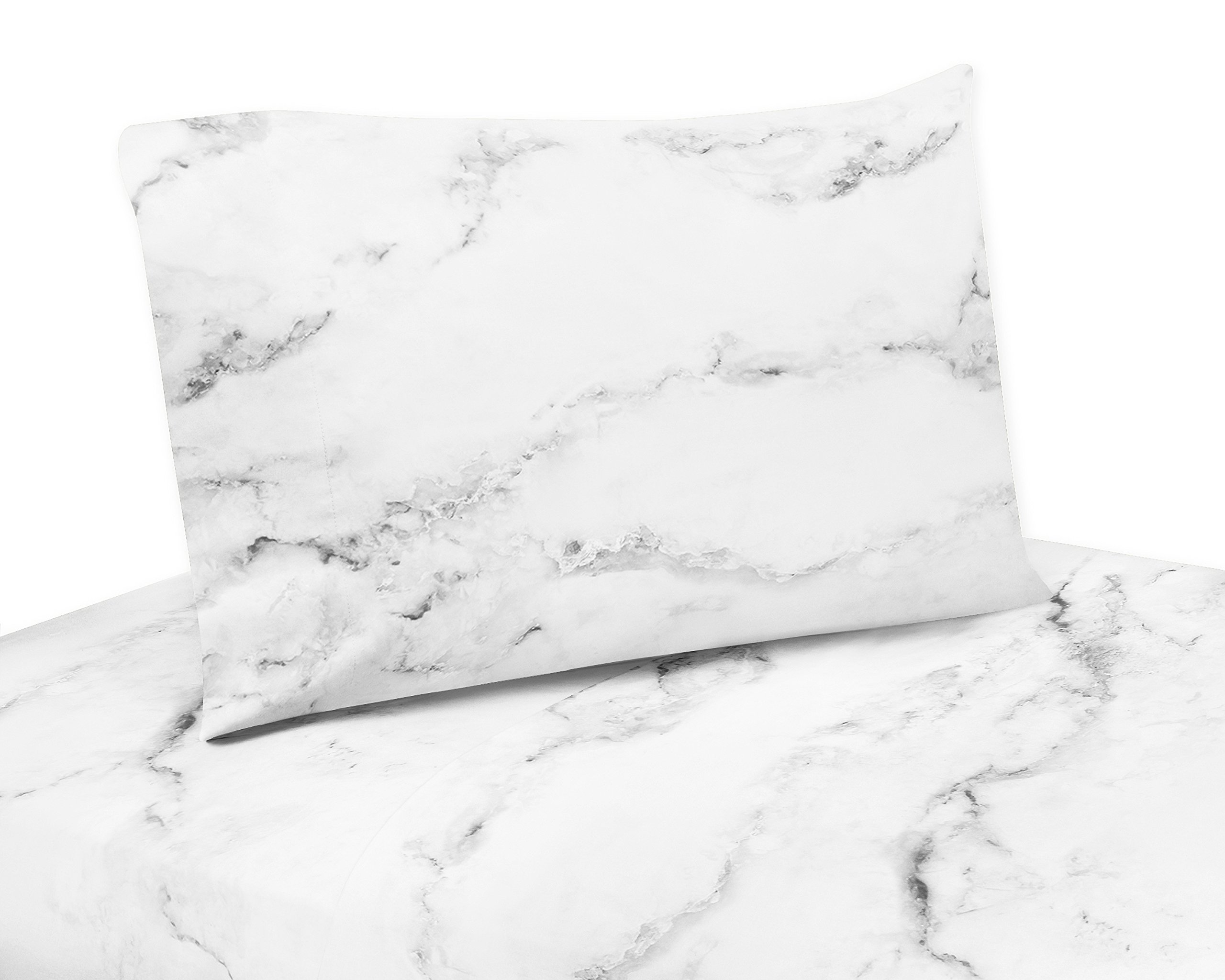4 Piece King Sheet Set for Modern Grey, Black and White Marble Bedding Collection