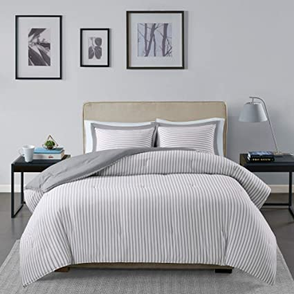 Amazon.com: MISC 3 Piece Gray White Stripe Comforter Full/Queen