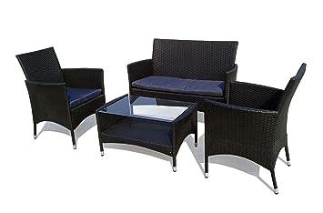 Set de mesa y sillas de jardín resina trenzada, 2 sillones ...