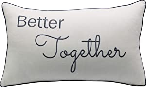 YugTex Better Together Cotton Embroidered Decorative Oblong Accent Throw Pillowcase - Decor for Bedroom, Wedding 12x20 Inches, Offwhite