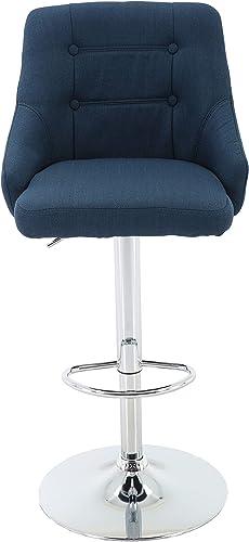 Brage Living Adjustable Height Tufted Upholstered Round Back Barstool with Footrest, Blue