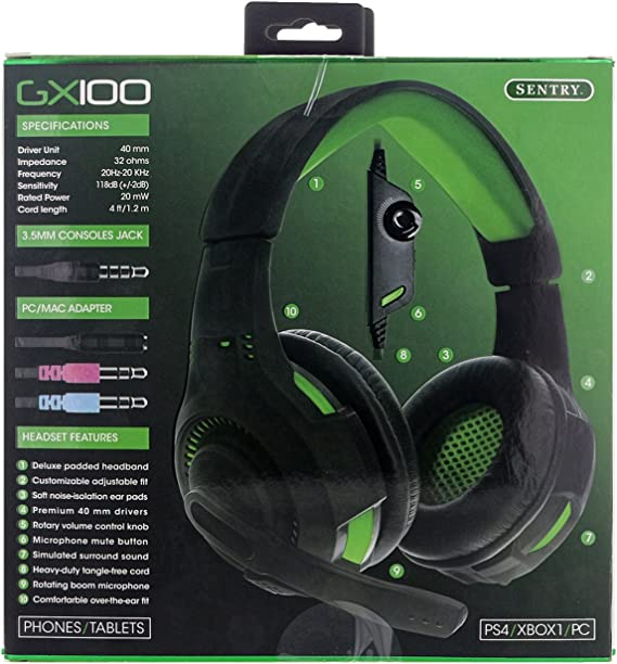 Sentry PS4, XBOX, PC, Green Gaming Headset with Boom Mic