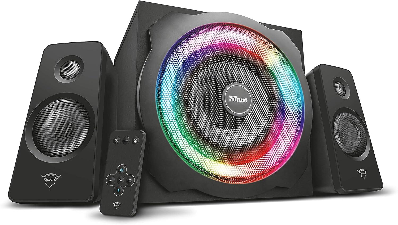 Trust Gaming GXT 629 Tytan - Juego de Altavoces Gaming con iluminación RGB 2.1, Color Negro