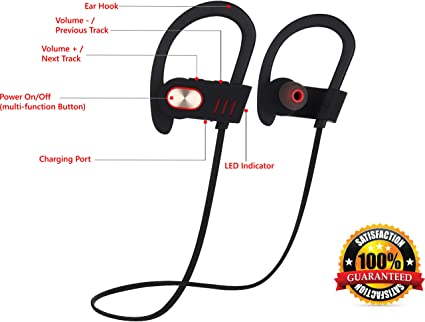 Amazon Com Wireless Headphones Over Ear Sweatproof Earbuds With Microphone For Phone Calls Best Headset Earphones For Running Exercise Sport Gym On Iphone 6 6s Plus 5c 5s Android Samsung Galaxy S6 S5