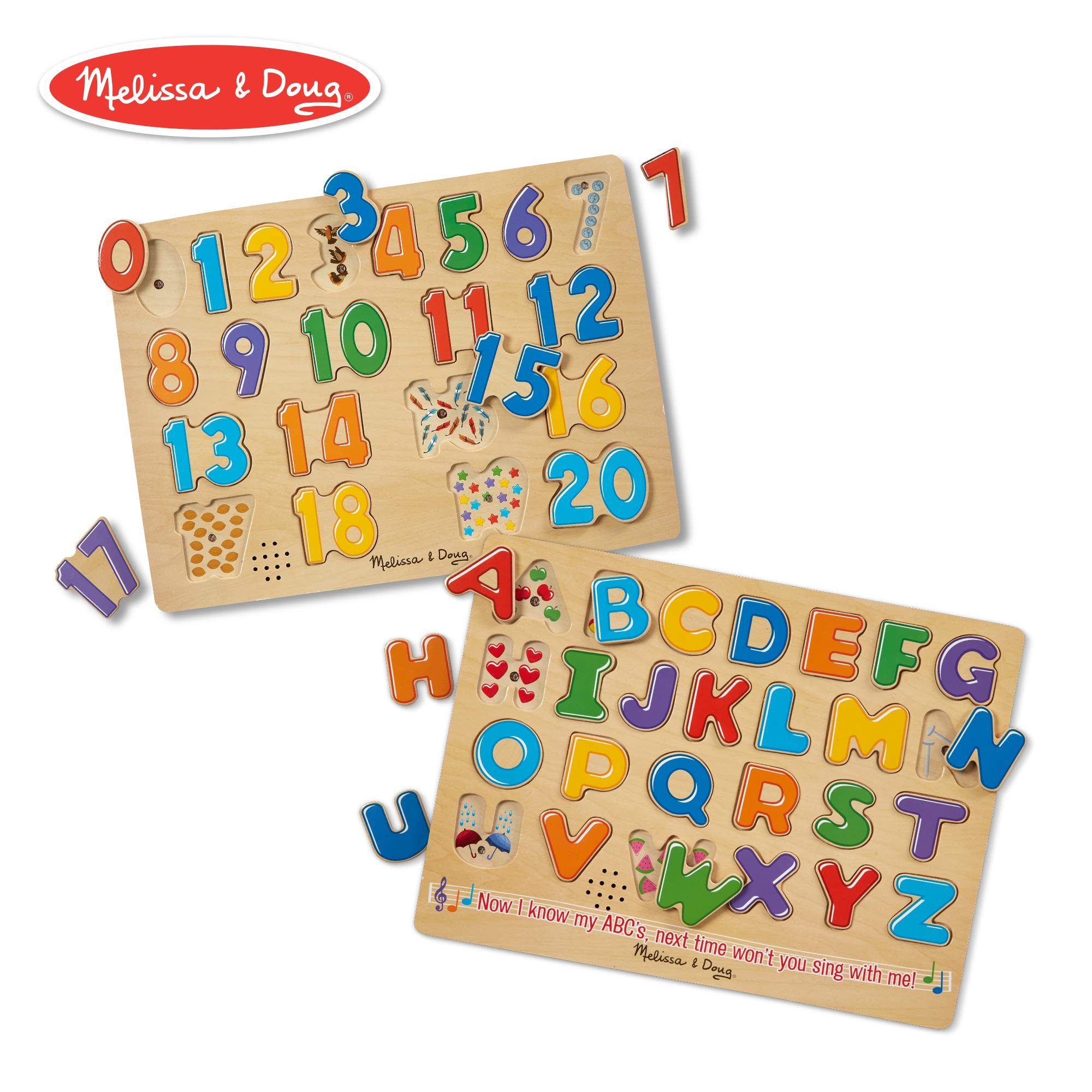 Melissa & Doug Sound Puzzles Set: Numbers and Alphabet - Wooden Peg Puzzles by Melissa & Doug
