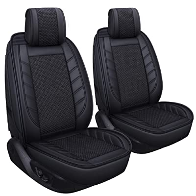 LUCKYMAN CLUB 2 PC Front Car Seat Covers Breathable Universal for Sedan SUV Truck Fit for Most Acura Mazda Hyundai Toyota Ford Chevy Kia Honda Buick (Black for 2pcs Front Seats): Automotive