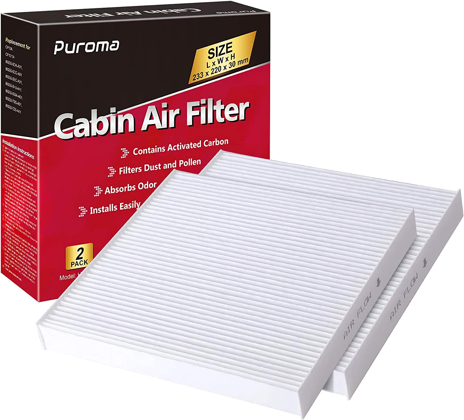 Puroma 2 Pack Cabin Air Filter with Multiple Fiber Layers Replacement for CP134, CF10134, Honda & Acura, Civic, CR-V, Odyssey, CSX, ILX, MDX, RDX