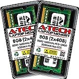 A-Tech 8GB (2x4GB) DDR3 1600MHz SODIMM PC3-12800 CL11 Non-ECC Unbuffered 204-Pin SO-DIMM Notebook Laptop RAM Memory Upgrade K