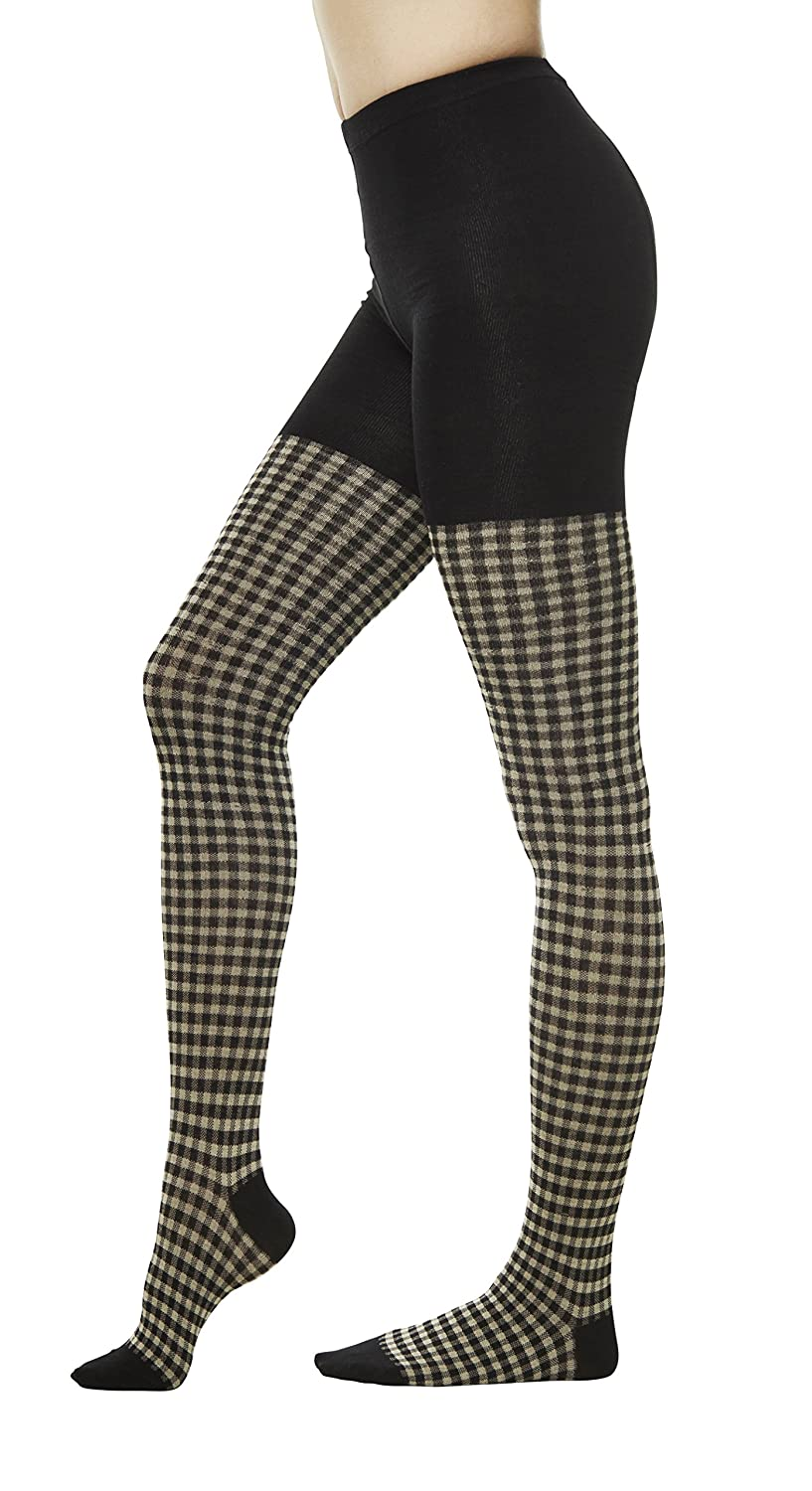 413c3e2997256 Women Winter Cotton Check Print Knit Sweater Footed Tights (One Size : XS  to M, Black) at Amazon Women's Clothing store: