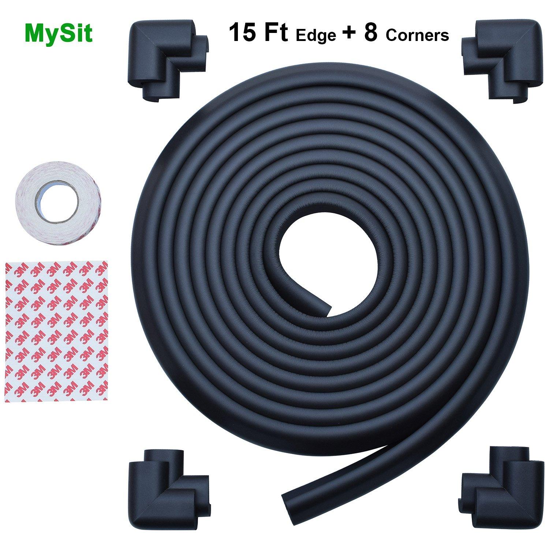 MySit Edge Guards and Cushion 17.4 ft [ 15Ft Edge + 8 Corners] Thick Anti-Collision Soft Bumper Protector (Edge_Corner_Black)