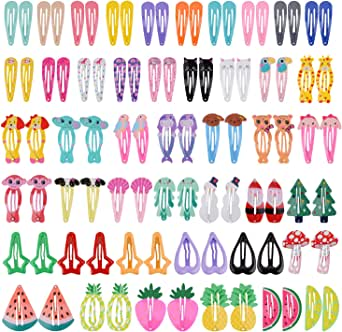 Baby Hair Clips, Fascigirl 90PCS Metal Animal Fruit Pattern Print Hair Barrettes Candy Color Heart Shape Star Shape Snap No-slip Hair Clips for Little Girls Toddlers Kids Women