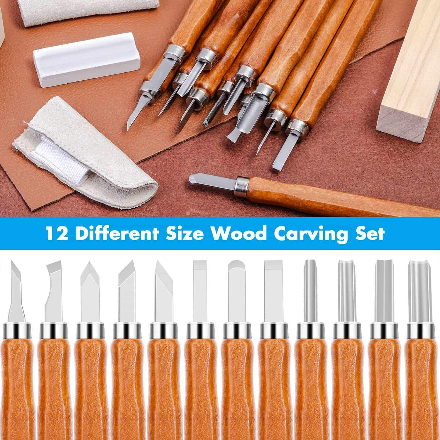 Cridoz 18 Pieces Wood Carving Tools with Basswood Carving Blocks and Whetstone for Beginners Wood Rubber Clay Wood Carving Tools Kit