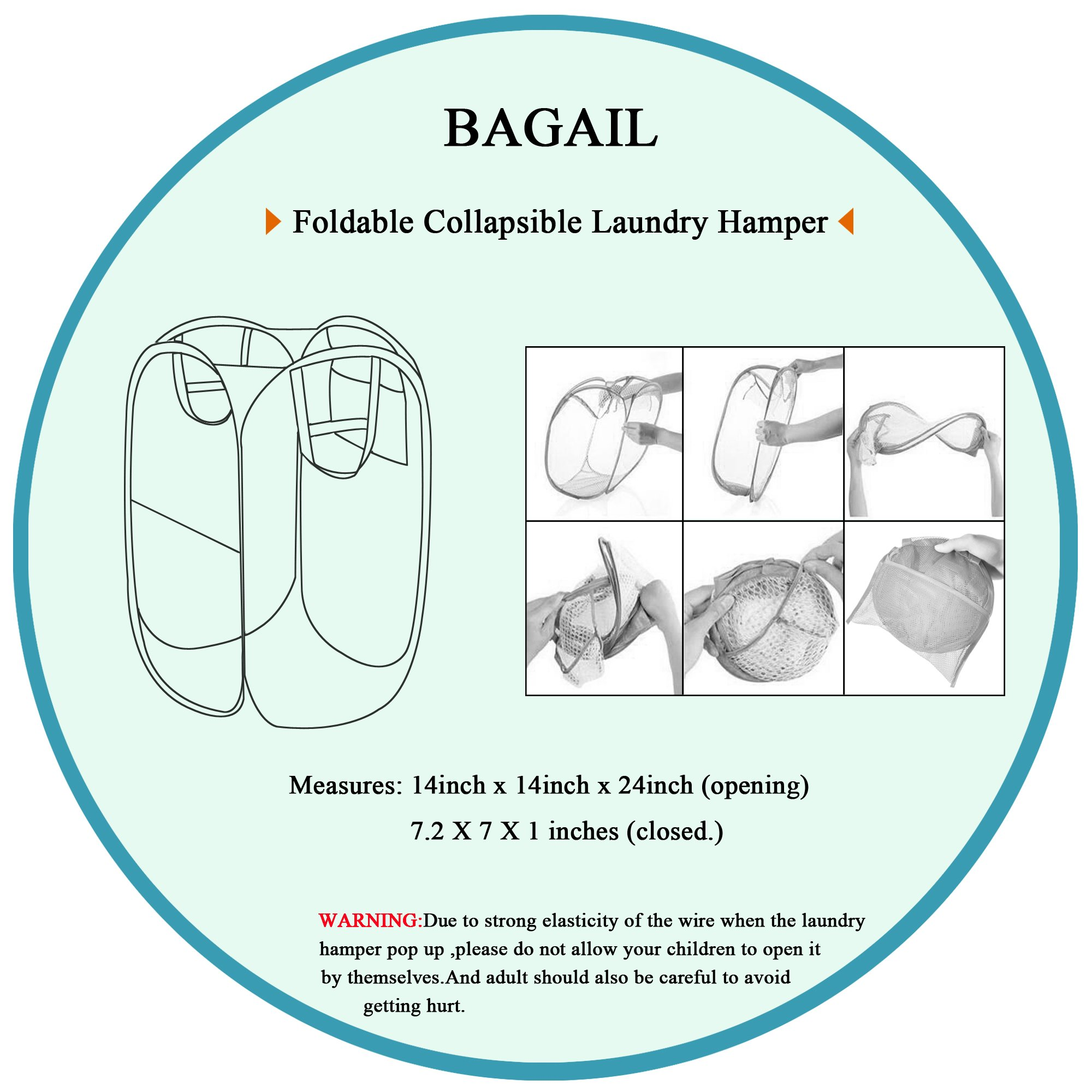 Bagail 2-Pack Pop-up Mesh Laundry Hamper with Reinforced Carry Handles,Foldable Collapsible Laundry Basket with Side Pocket by BAGAIL (Image #6)