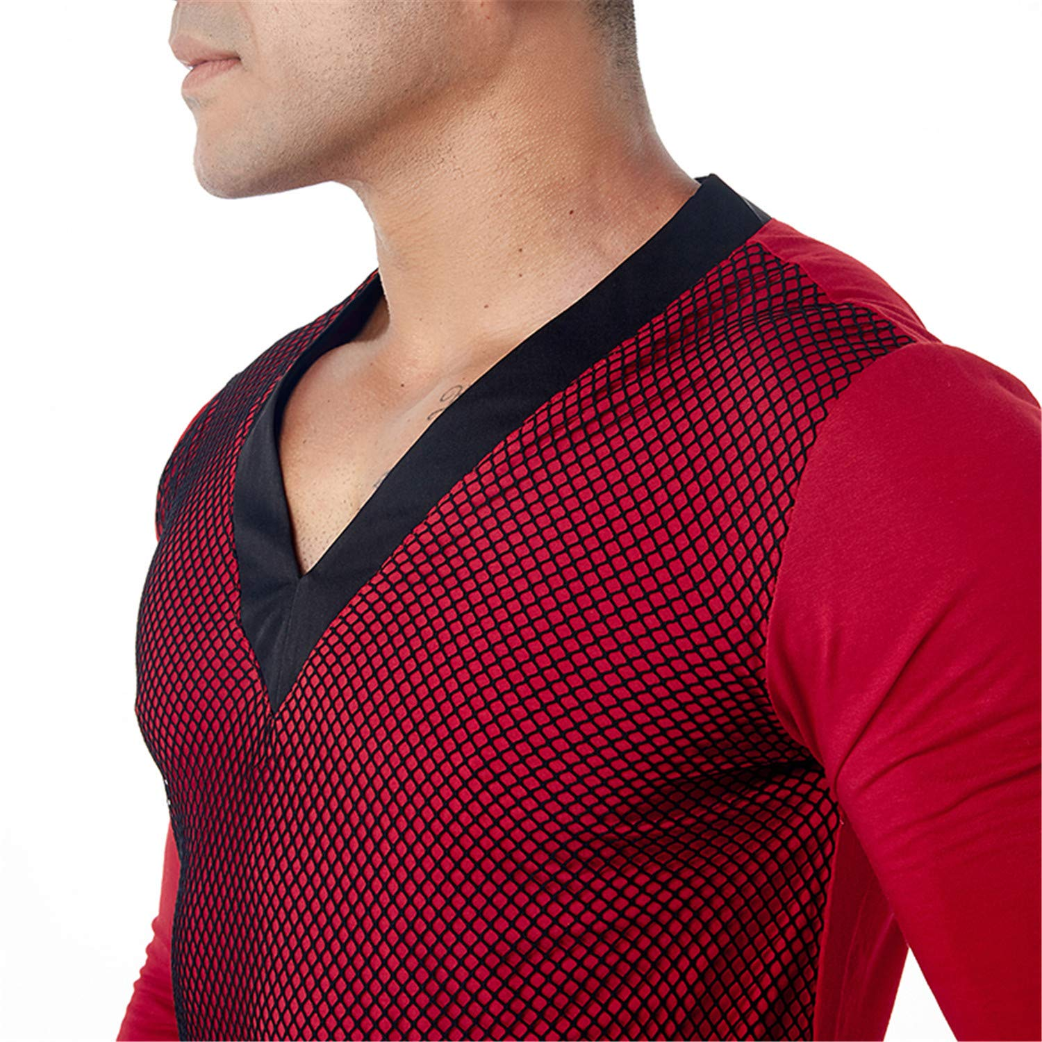 Habitaen T-Shirt Men Sheer See Through Mesh Long Sleeve T Shirt Tops Undershirt