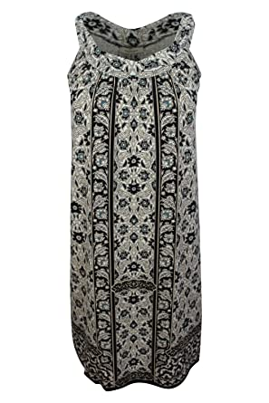 19ddaeb5054 Max Studio Women's Black White Floral Mixed Border Print Halter Jersey  Shift Dress, ...