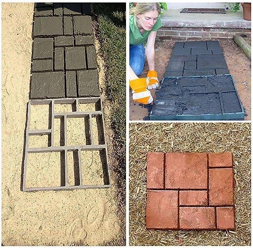 zjchao DIY Pathmate Personalizada Piedra de pavimentación del Molde Cuadrado de jardín al Aire Libre decoración de pasillos de Cemento Molde 50 * 50cm Color Negro: Amazon.es: Jardín