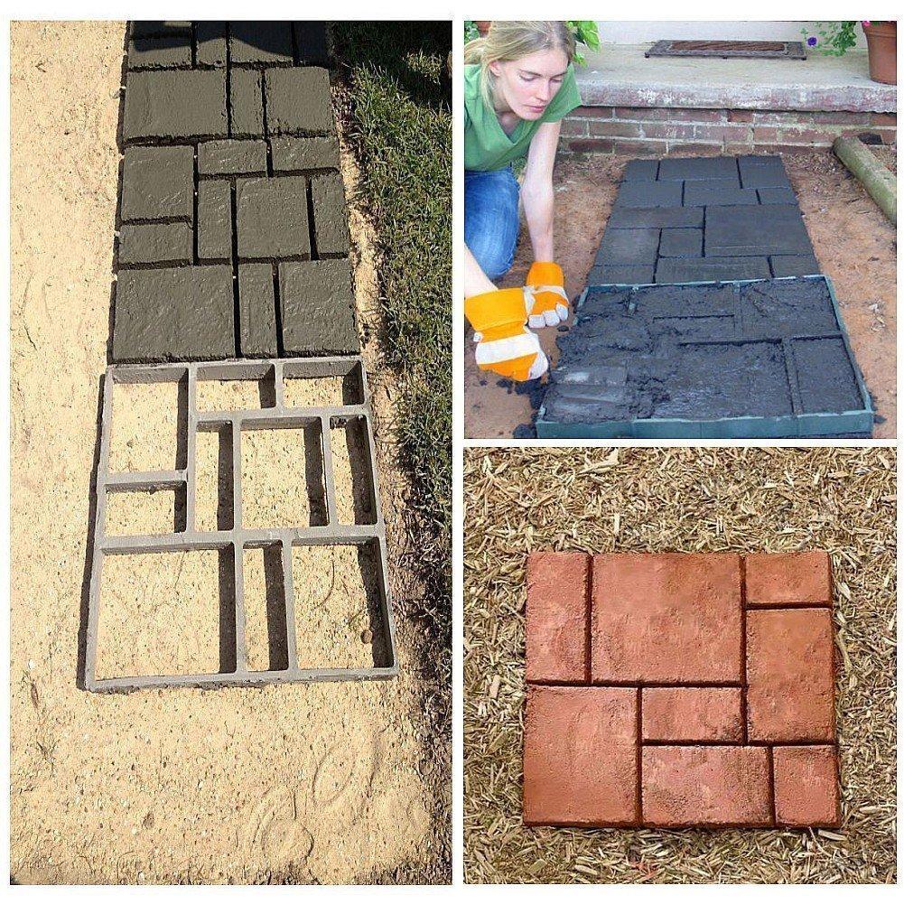 DIY Pathmate personalizada Piedra de pavimentación del molde cuadrado de jardín al aire libre decoración de pasillos de cemento molde 50*50cm color negro: ...
