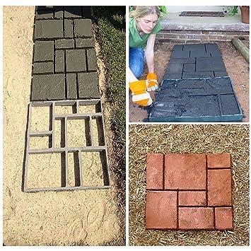 zjchao DIY Pathmate Personalizada Piedra de pavimentación del Molde Cuadrado de jardín al Aire Libre decoración de pasillos de Cemento Molde 50 * 50cm Color ...