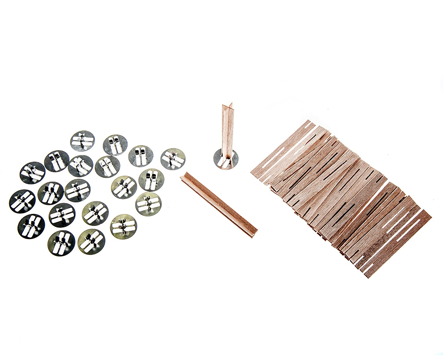 ValesaVales DIY 20 Pack Set of 80 mm/3.1 inch Cross Wooden Core Wax Wicks complete with Metal Base Anchor Holders for Handmade Candle Making