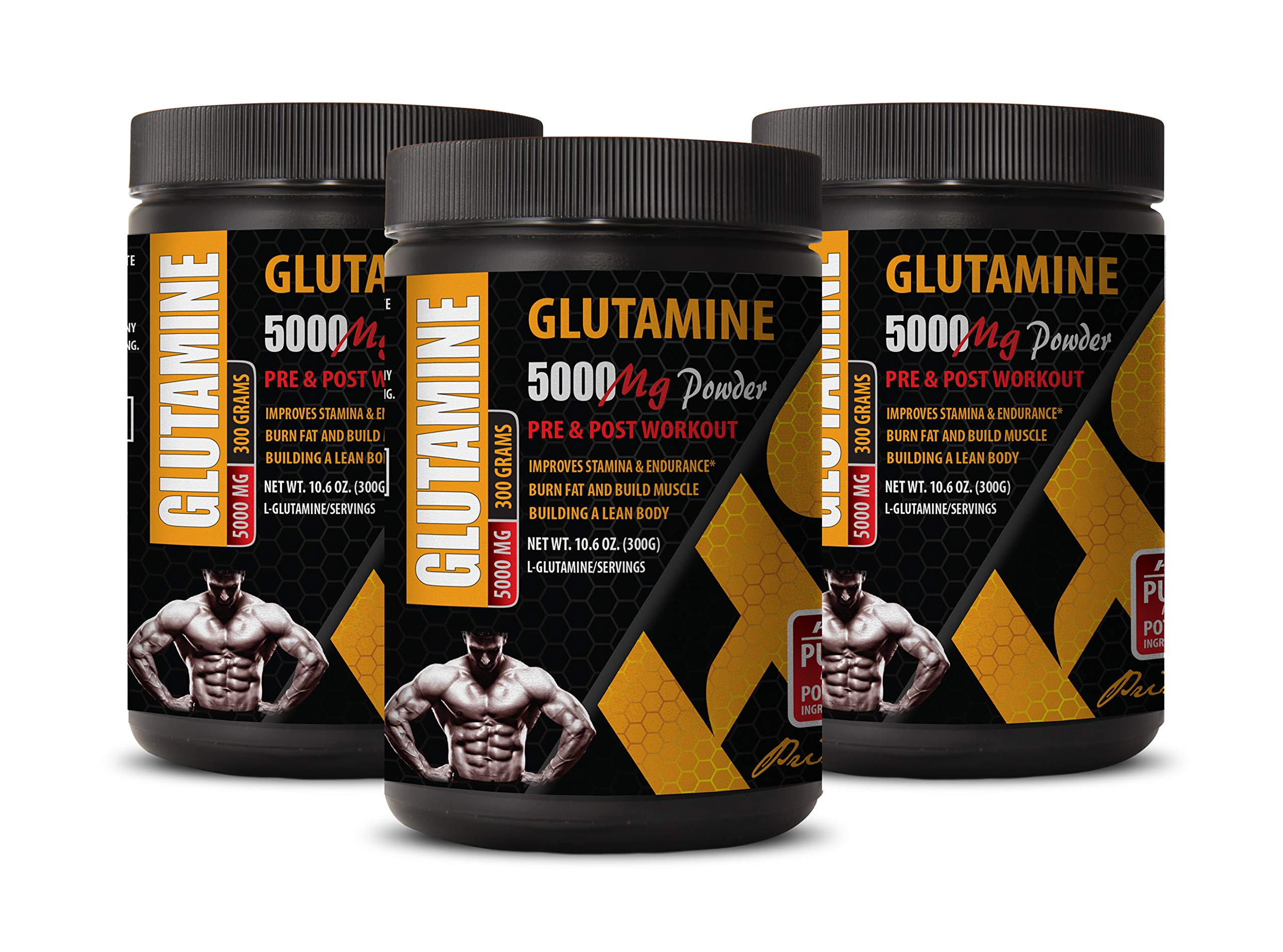 Muscle Pump pre Workout - GLUTAMINE Powder 5000MG - PRE and Post Workout - glutamine Supplements Powder - 3 Cans 900 Grams by HS PRIME