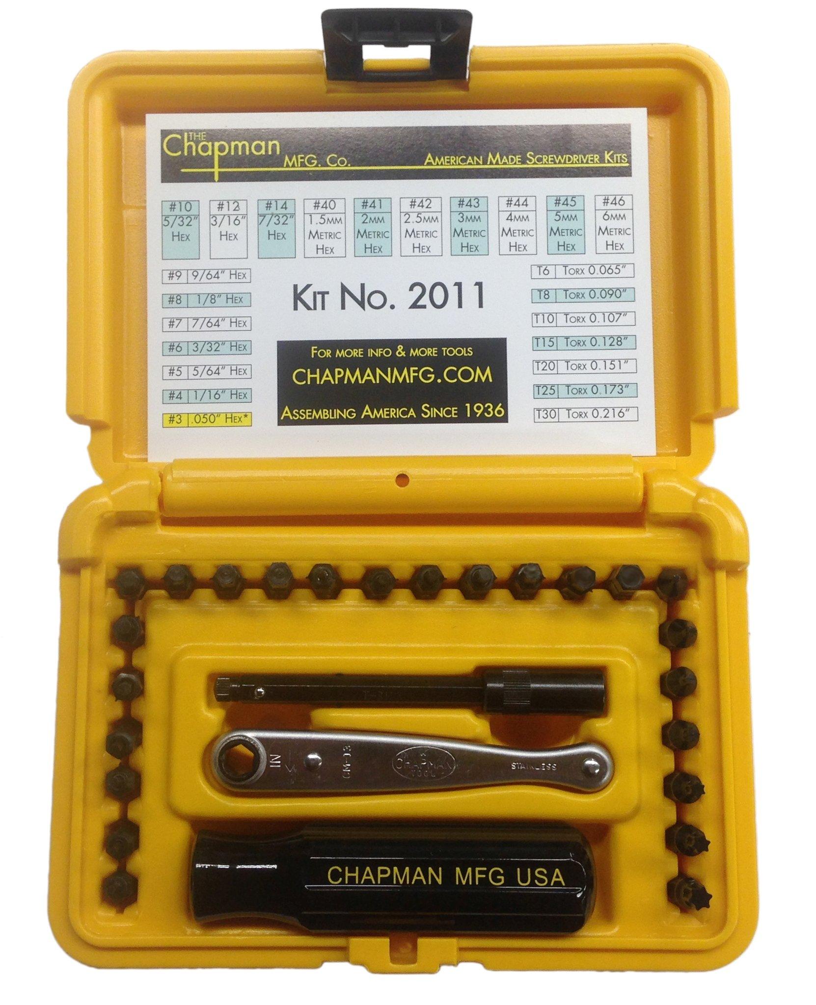 Chapman MFG #2011 Euro/Metric USA Made hand tool Screwdriver Set Offset Midget Ratchet