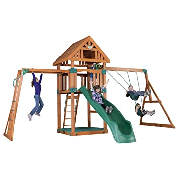 Backyard Discovery Capitol Peak All Cedar Wood Playset Swing Set