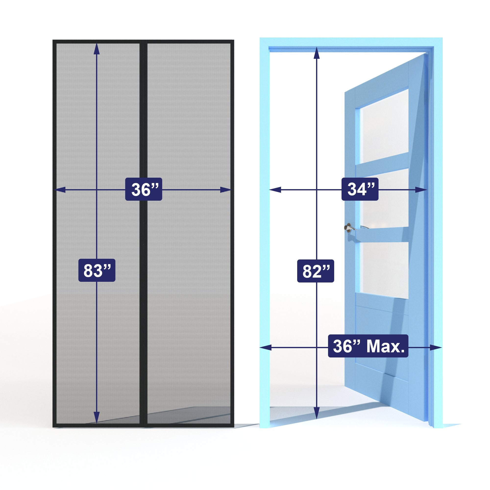 Home Diamonds Ultra Heavy Duty Fiberglass Magnetic Mesh Screen Door Full Frame Velcro, 28 Strong Magnets, Fit Doors up to 34 x 81-inches by Home Diamonds (Image #2)