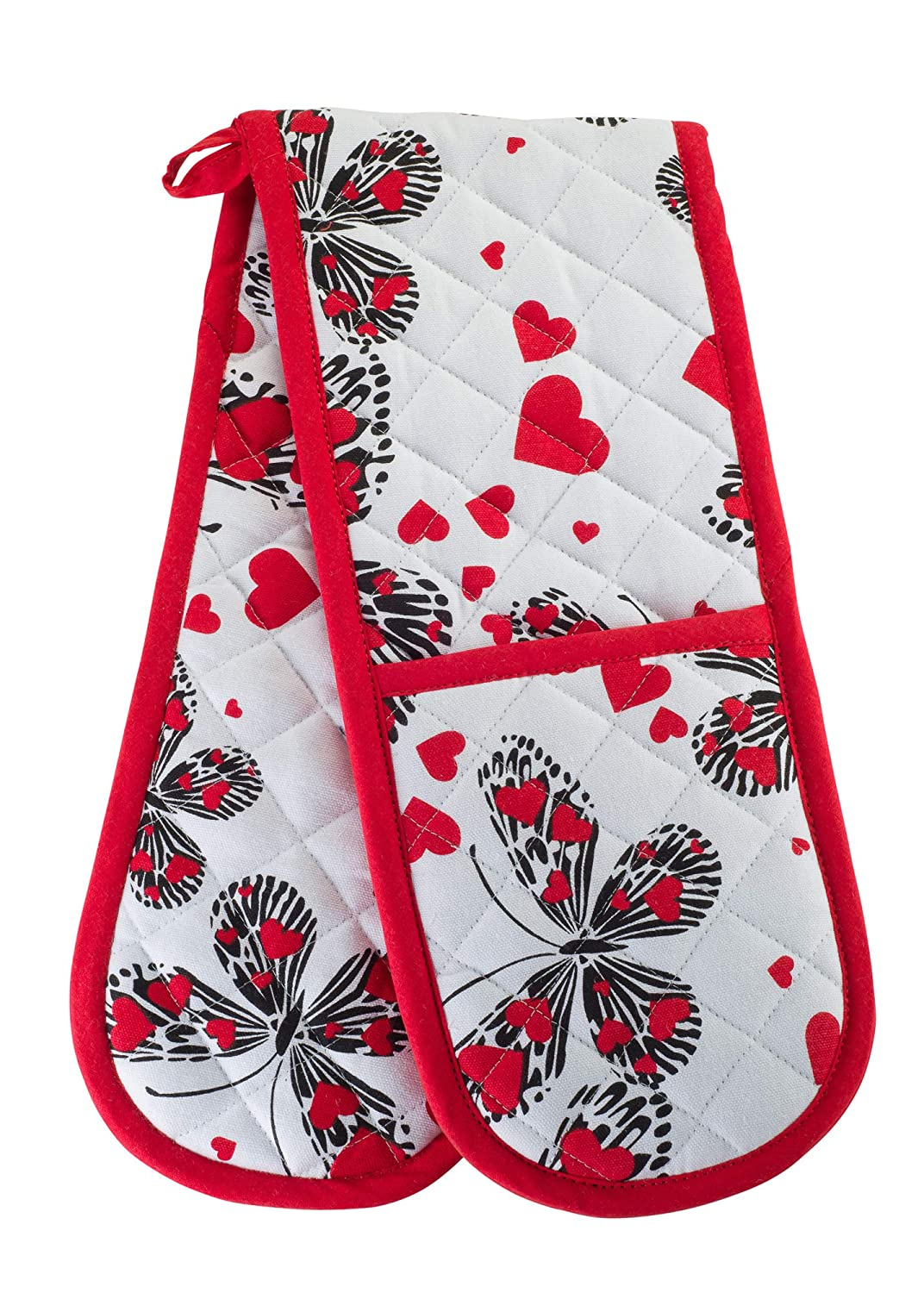 KreativeKitchenry Smart Home, Fun Butterflies & Hearts, 1 Piece, Long Double Oven Mitts Gloves, Heat Resistant, 100% Cotton, Extra Thick, Quilted