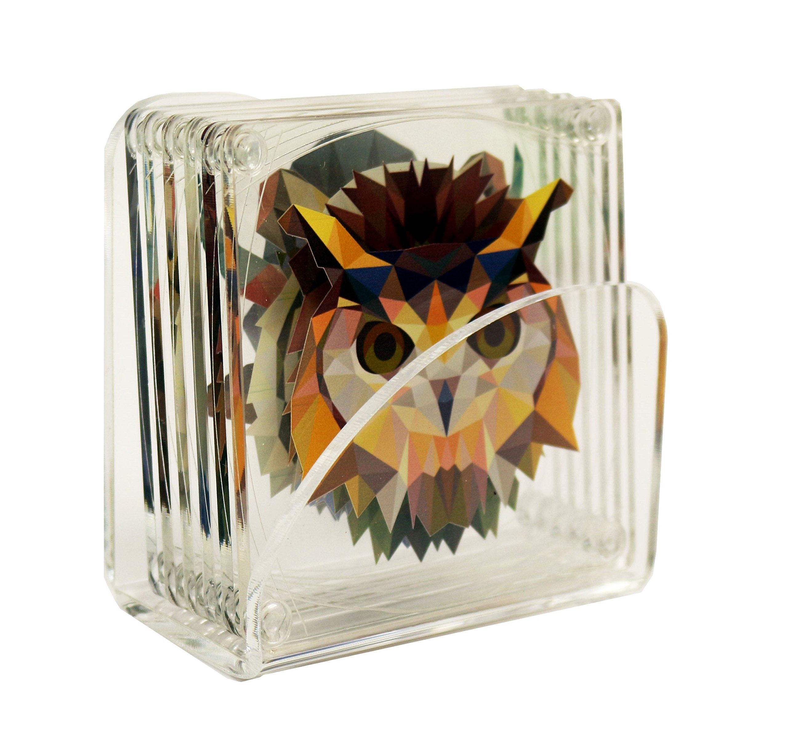 Idea Design - Acrylic 3.5'' Assorted Coasters: Owl, Eagle, Lion, Gorilla, Buffalo and Tiger - Safari Animals With Clear Acrylic Stand (Set of 6)