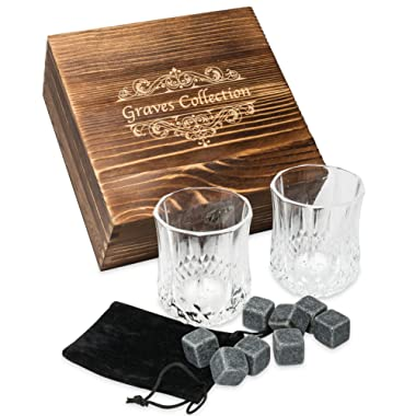 Whiskey Stones Set with 2 Large (7oz) Crystal Whiskey Glasses – Whiskey Set in Handmade Box includes 8 Granite Chilling Stones and Velvet Bag Whiskey Gifts