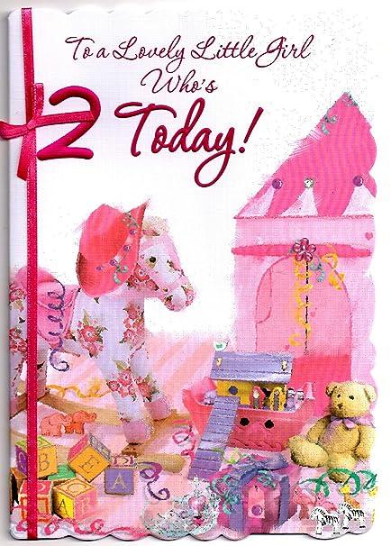 Tarjeta de felicitación de cumpleaños para niña de dos (2 ...