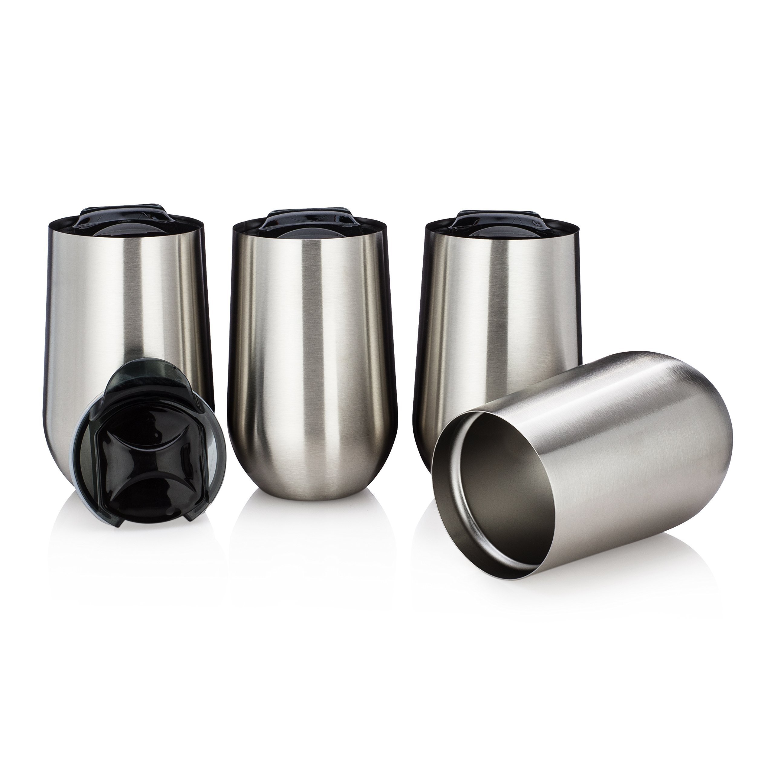 Stainless Steel Stemless Wine Glasses by Avito- Set of 4 Double Walled Insulated 15 Oz with Lid - Shatterproof - BPA Free Healthy Choice - Dishwasher Safe - Best Value
