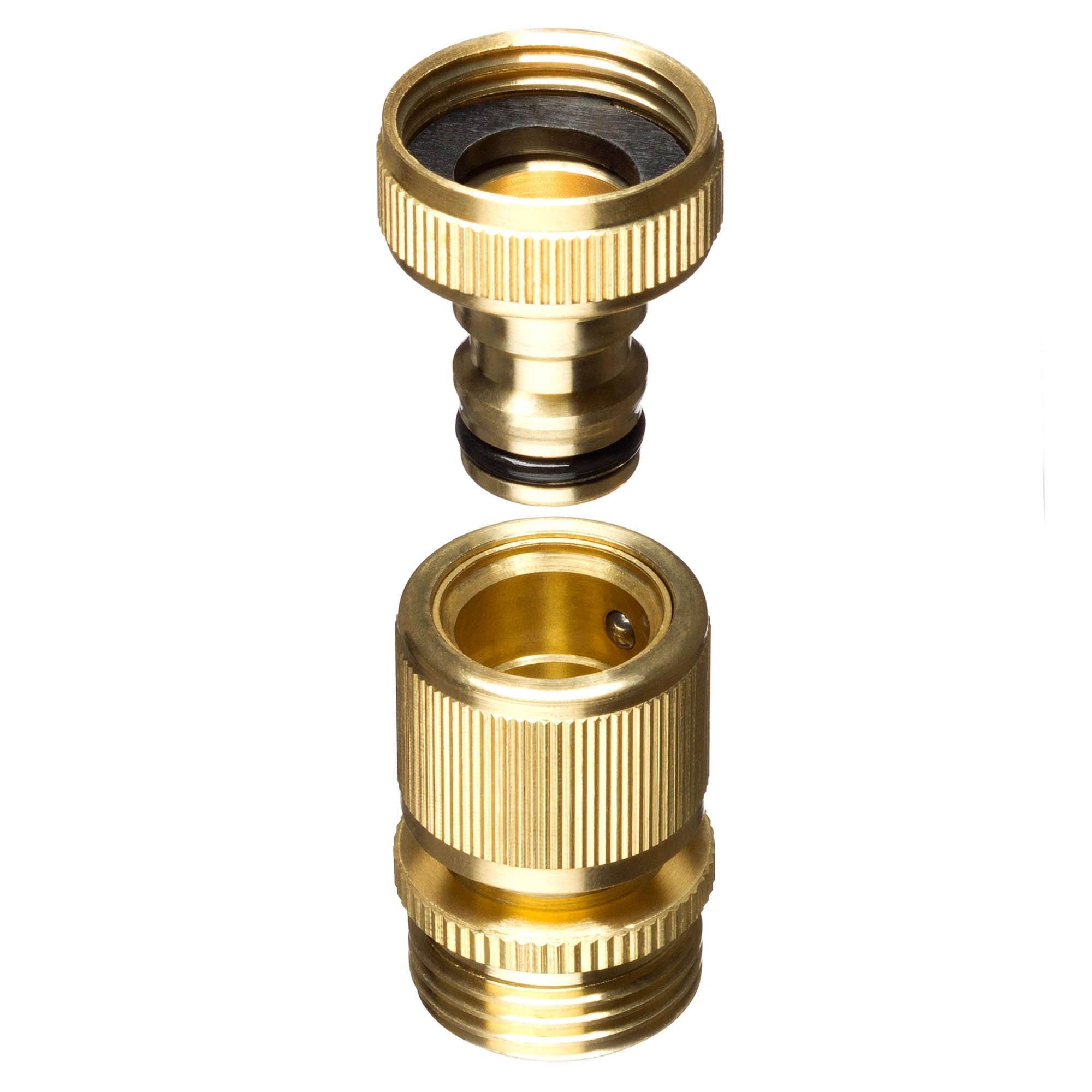 New Garden Hose Quick Connector. ¾ inch GHT Brass Easy Connect Fitting 4-Piece Set Male and Female by GORILLA EASY CONNECT (Image #3)